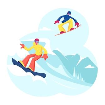 Pessoas adultas vestidas com roupas de inverno snowboard. ilustração plana dos desenhos animados