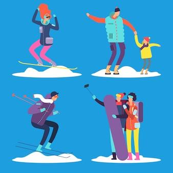 Pessoas, adultos e crianças fazendo snowboard e esqui ao ar livre.