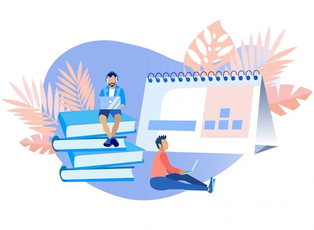 Pessoas agendamento de operações, tarefas e eventos.