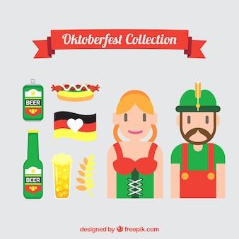 Pessoas agradáveis com roupas tradicionais e elementos oktoberfest