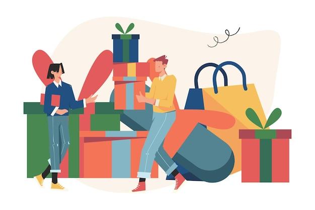 Pessoas alegres, funcionário recebe um presente e recompensa online por um bom trabalho