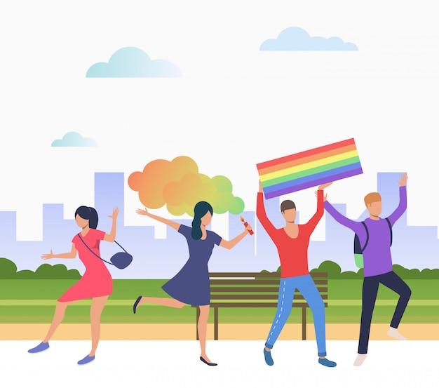 Pessoas alegres na parada do orgulho