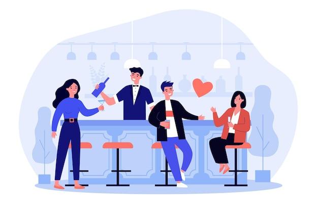Pessoas alegres, relaxando no bar e bebendo álcool. vidro, data, ilustração plana do barman. fim de semana e conceito de lazer