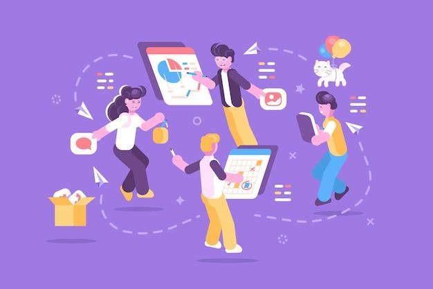 Pessoas alegres trabalhando juntas em uma ilustração de tarefa