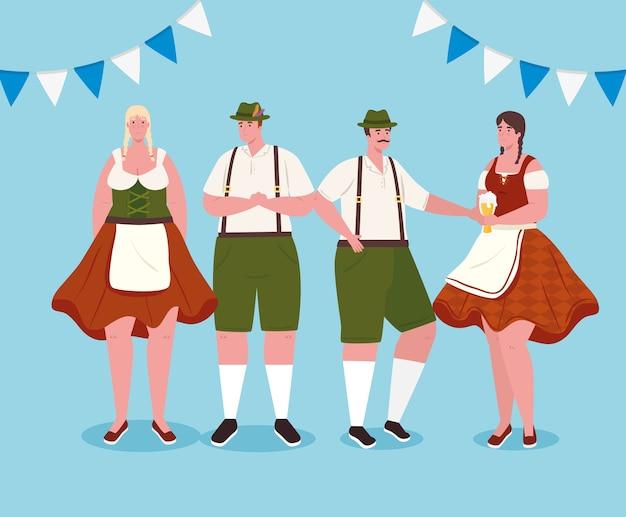 Pessoas alemãs em trajes nacionais, mulheres e homens em trajes tradicionais da baviera, com desenho de ilustração vetorial de decoração de guirlandas