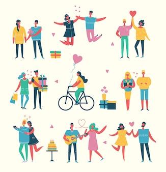 Pessoas, amigos comemorando a ilustração vetorial de festa de ano novo. design de personagens planas de vetor legal na festa de ano novo ou aniversário com personagens masculinos e femininos se divertindo, pulando e fazendo um brinde
