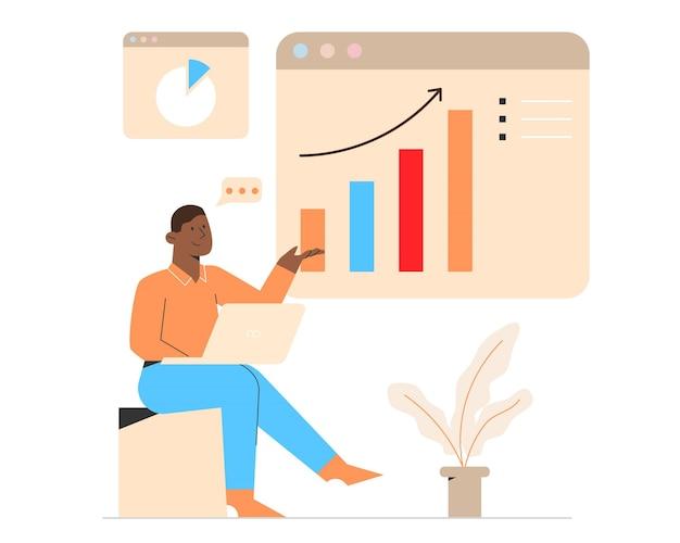 Pessoas analisando gráficos de crescimento
