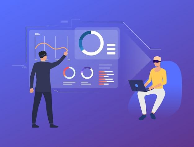 Pessoas analisando gráficos financeiros na interface virtual