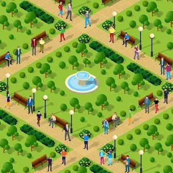 Pessoas andam no parque, becos, árvores, cidade, isométrica