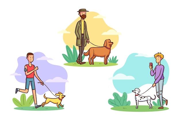 Pessoas andando com a matilha de cachorro