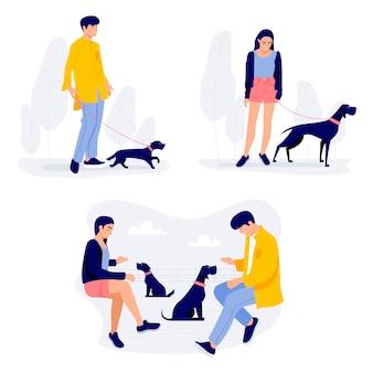Pessoas andando com cães, homens e mulheres com seus animais de estimação