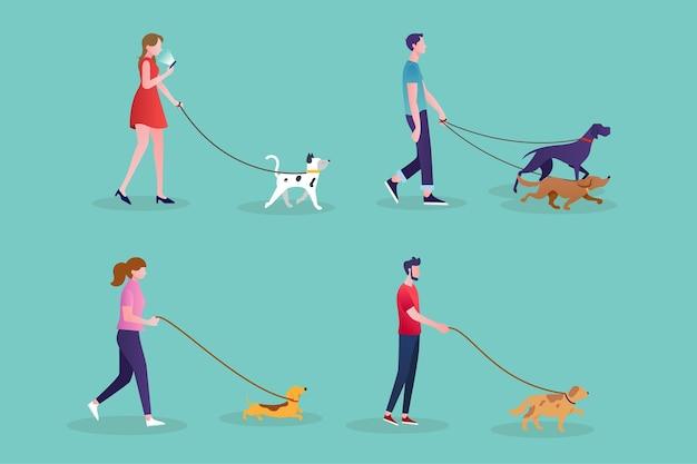 Pessoas andando com o tema cachorro