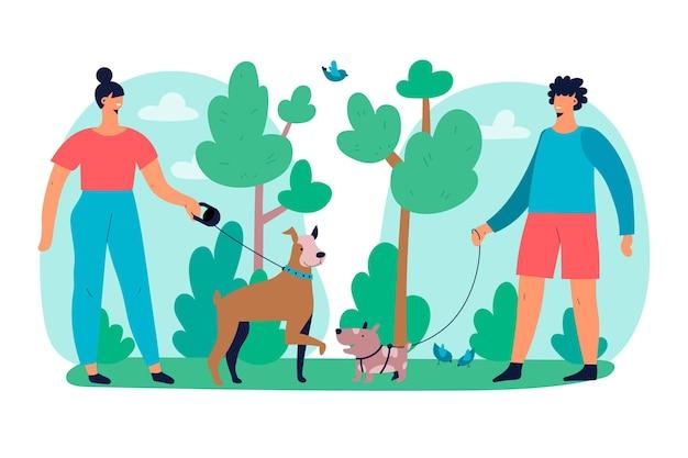 Pessoas andando com o tema da ilustração de cachorro