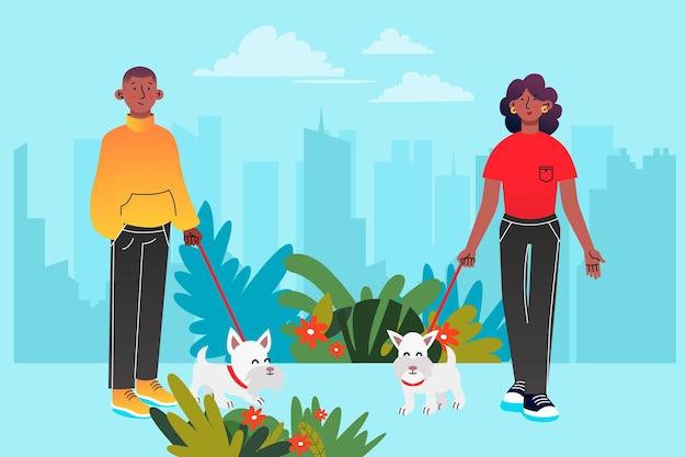Pessoas andando com seus animais de estimação ao ar livre