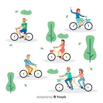 Pessoas andando de bicicleta no parque