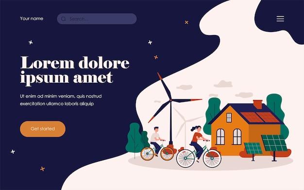 Pessoas andando de bicicleta por moinhos de vento e estação de energia solar. ilustração em vetor plana para tecnologia ecológica, transporte, energia renovável, conceito de desenvolvimento sustentável