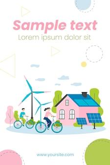 Pessoas andando de bicicleta por moinhos de vento e estação de energia solar