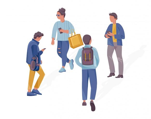 Pessoas andando ilustração do conceito