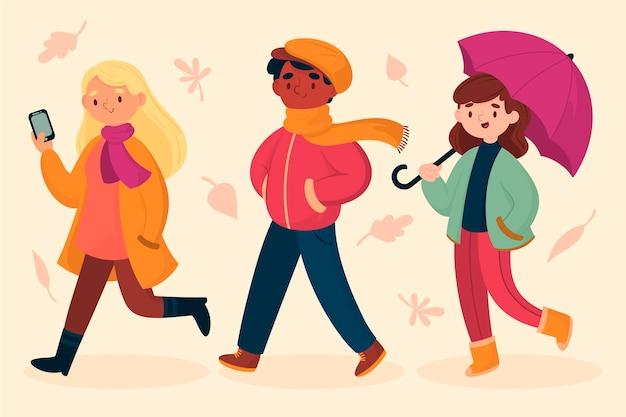 Pessoas andando na ilustração de outono