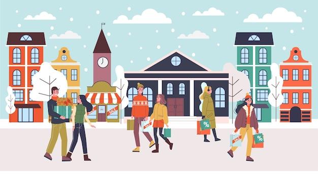 Pessoas andando na rua com a sacola de compras. tempo de venda de natal. férias de inverno, desconto na loja. ilustração em grande estilo