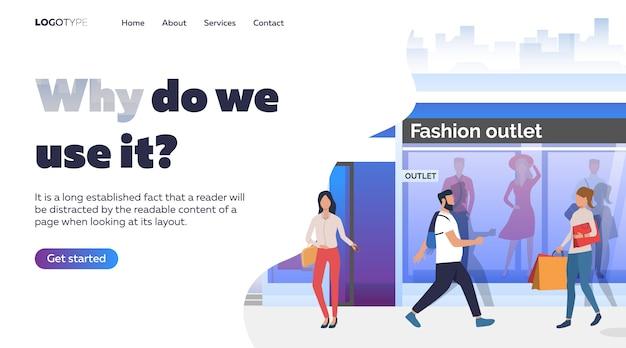 Pessoas andando no bairro da moda
