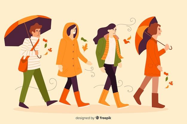 Pessoas andando no outono estilo flat