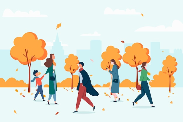 Pessoas andando no outono