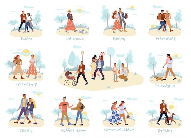Pessoas andando, passam tempo juntos conjunto ao ar livre