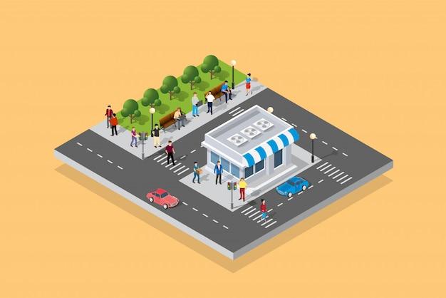 Pessoas andando pela cidade