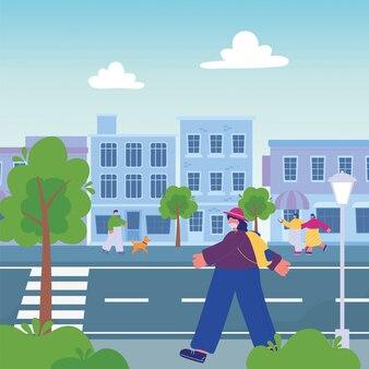Pessoas andando pela rua urbana, passear com cachorro e smartphone