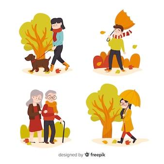 Pessoas, andar, em, outono, collectio