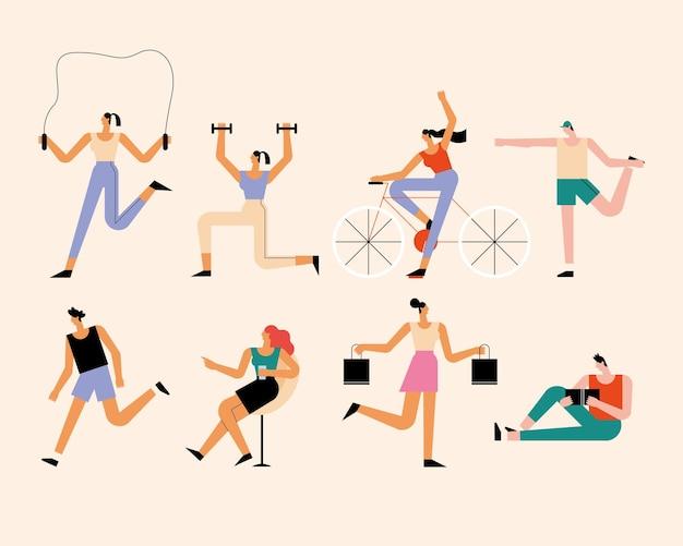 Pessoas ao ar livre oito personagens de atividades
