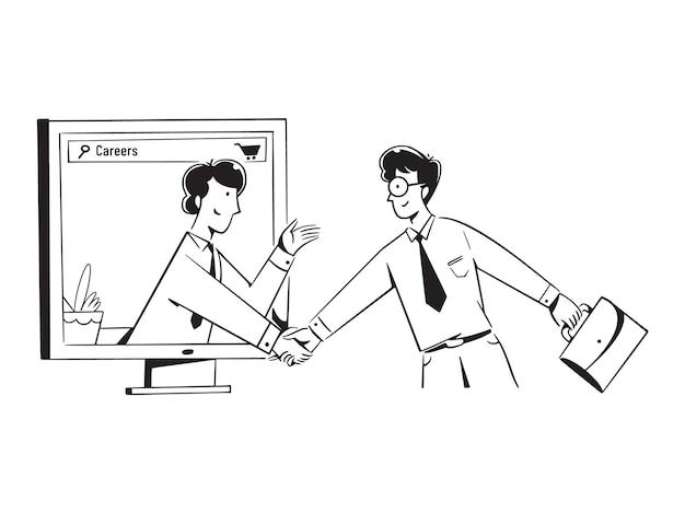 Pessoas apertando a mão em conversa sobre carreiras