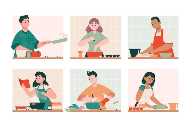 Pessoas aprendendo a cozinhar com livros e internet