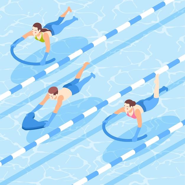 Pessoas aprendendo a nadar com auxílio na composição isométrica da piscina
