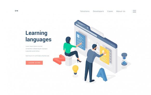 Pessoas aprendendo línguas estrangeiras online. homem e mulher isométricos usando software online para aprender línguas estrangeiras através da internet em banner de anúncio de site educacional