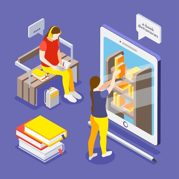 Pessoas aprendendo usando livros digitais