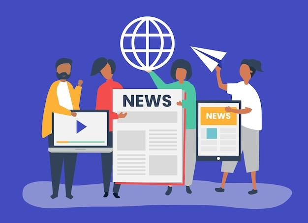 Pessoas apresentando diferentes tipos de formas de acessar notícias