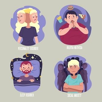 Pessoas apresentando diferentes tipos de transtornos mentais