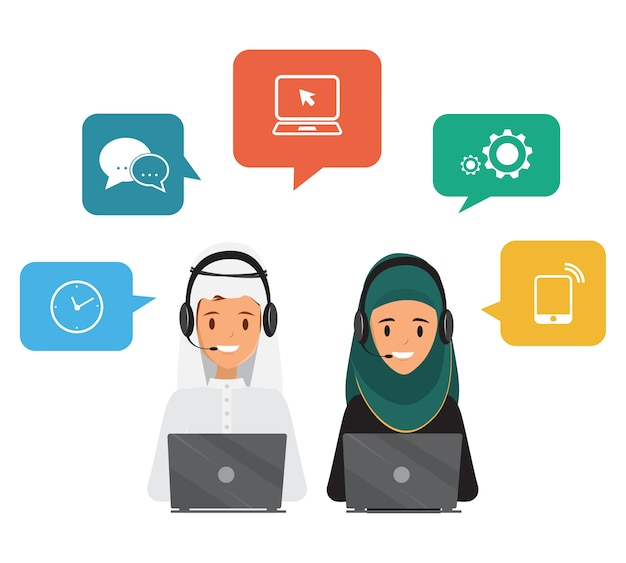 Pessoas árabes em call center e atendimento ao cliente
