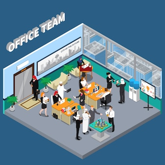 Pessoas árabes na ilustração isométrica de escritório