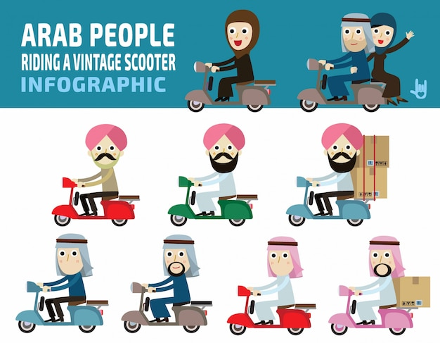 Pessoas árabes passeio de moto