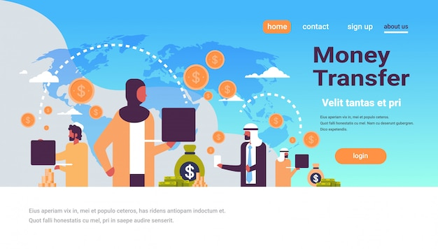 Pessoas árabes usando banner de transferência de dinheiro de aplicativo de pagamento global