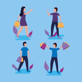 Pessoas às compras com sacolas