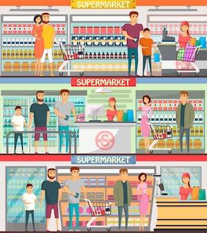 Pessoas às compras em banners de supermercado