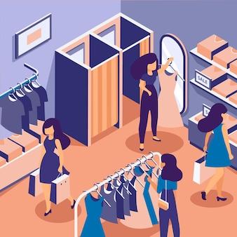 Pessoas às compras em uma loja de roupas isométrica