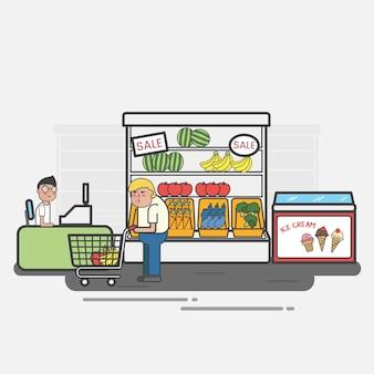 Pessoas às compras em uma mercearia