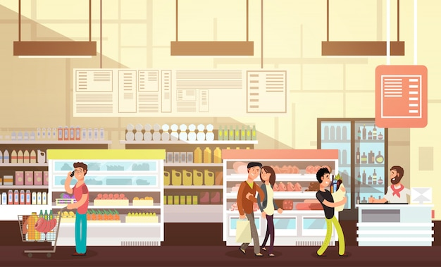 Pessoas às compras na mercearia. interior de varejo de supermercado com ilustração vetorial plana de clientes