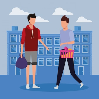 Pessoas às compras no shopping