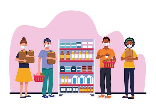 Pessoas às compras no supermercado com design de ilustração vetorial máscara facial
